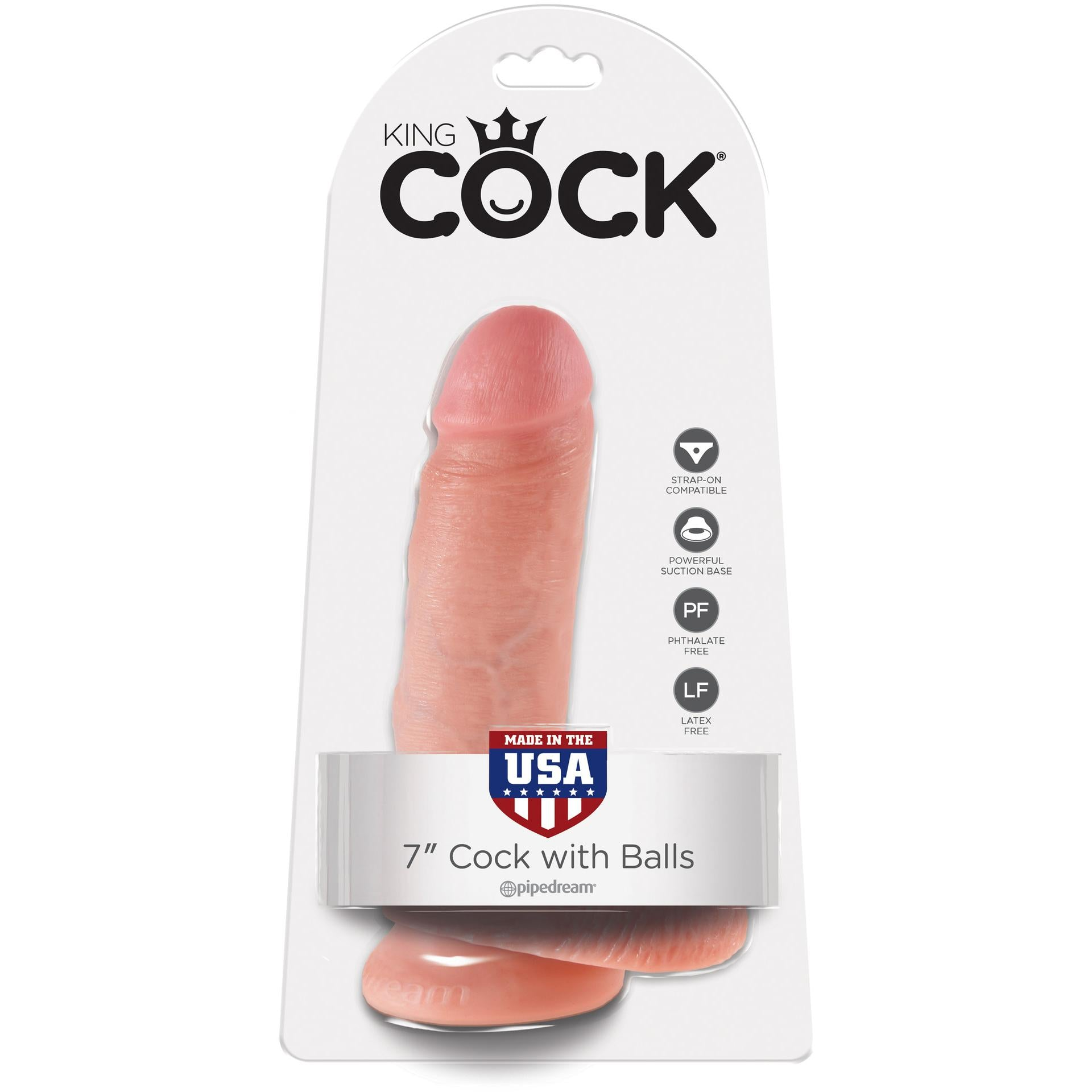"King Cock 7"" Cock w/ Balls - Gay Men's Sex Toys - Adam's Toy Box"