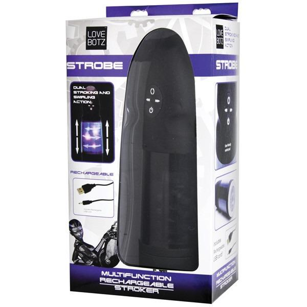 LoveBotz Strobe Multi Function Rechargeable Male Stroker - Gay Men's Sex Toys - Adam's Toy Box