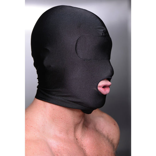 Master Series Disguise Open Mouth Hood With Padded Blindfold - Gay Men's Sex Toys - Adam's Toy Box