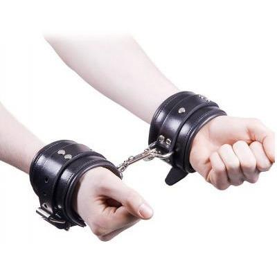 Rouge Padded Leather Wrist Cuffs - Gay Men's Sex Toys - Adam's Toy Box