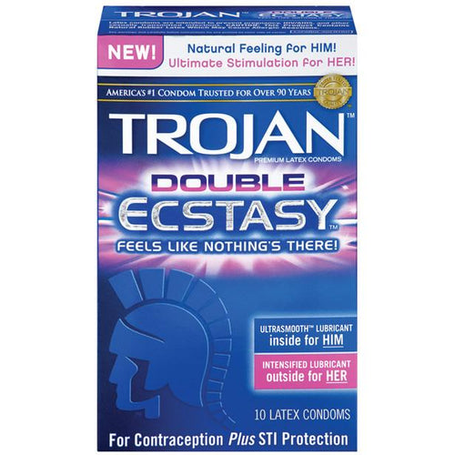 Trojan Double Ecstasy Condoms - Gay Men's Sex Toys - Adam's Toy Box