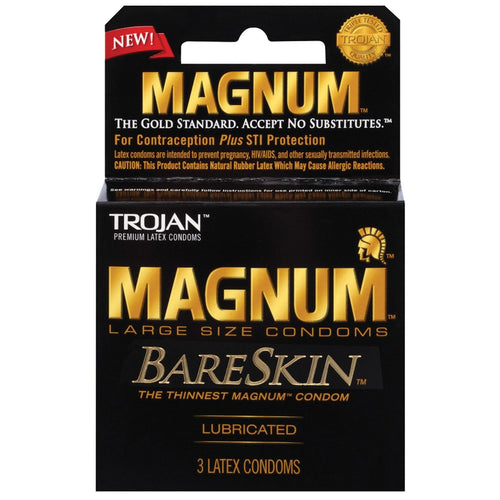 Trojan Magnum Bareskin Condoms - Pack Of 3 - Gay Men's Sex Toys - Adam's Toy Box