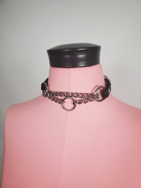 Onyx vegan or leather collar