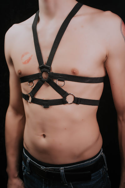 Drew adjustable unisex chest harness - Ready to Ship Black and Orange