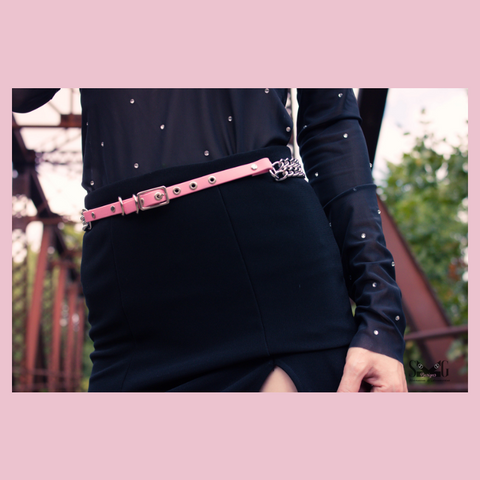 Fiona vegan or leather chain belt