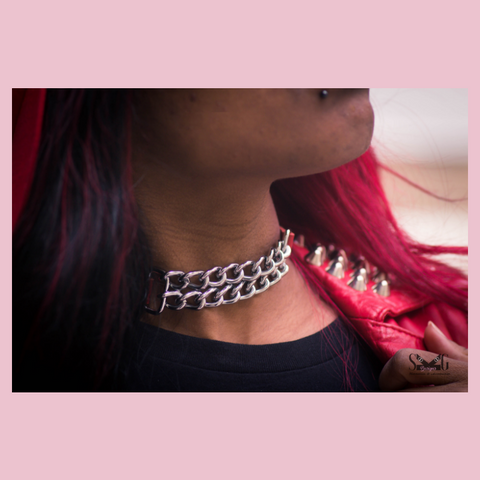 Fiona leather chain choker
