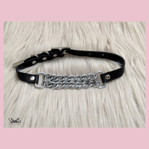 Fiona leather chain choker - ready to ship