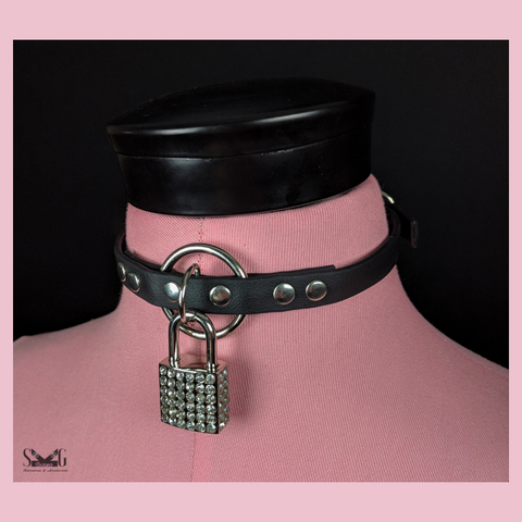 Circe collar - heart or rhinestone lock - ready to ship