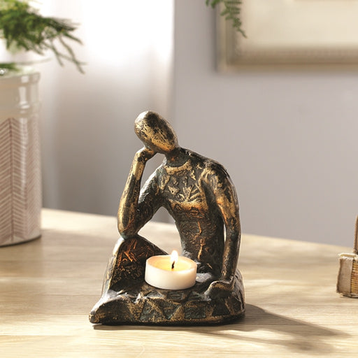 Thoughtful Woman Tea Light Candle Holder