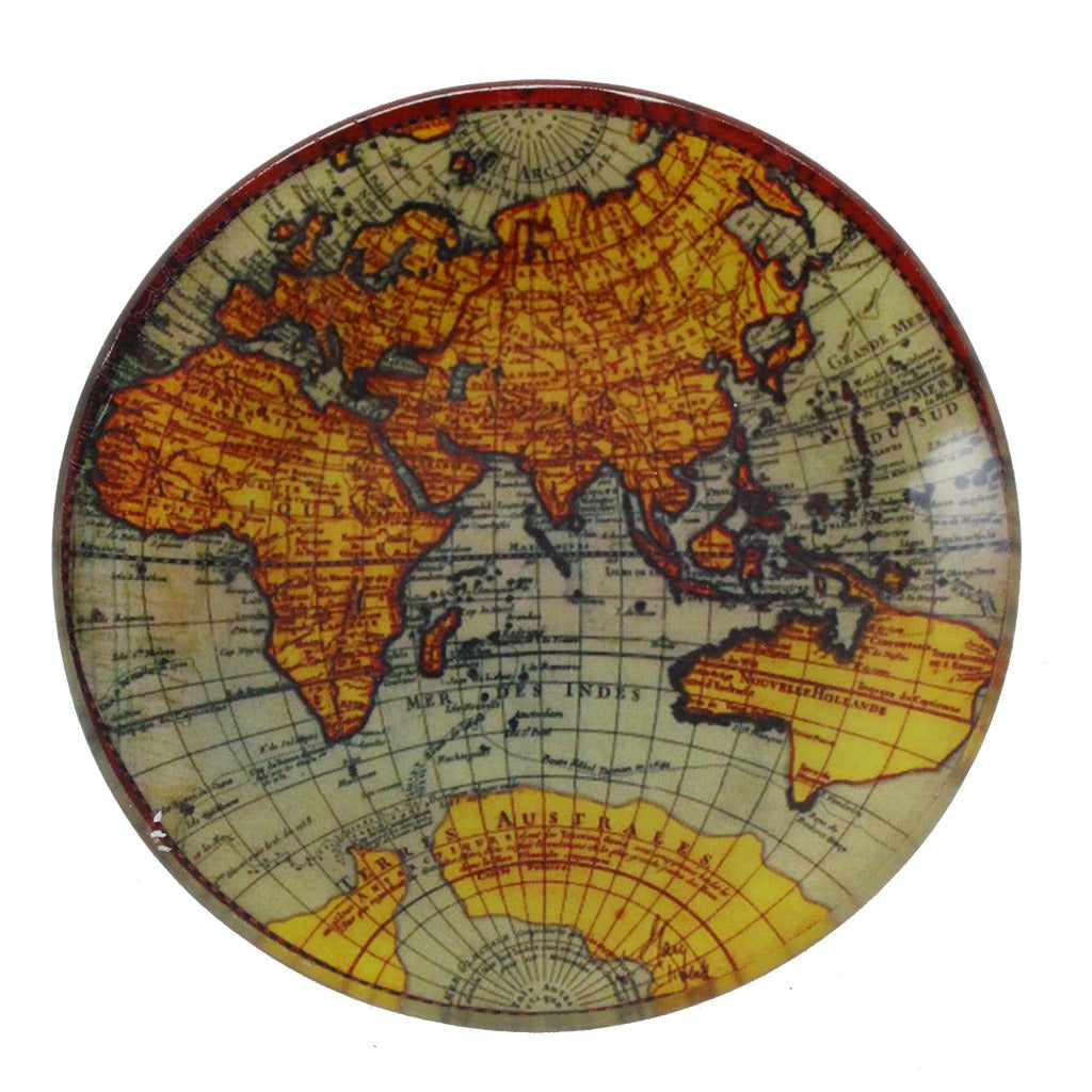 Glass Old World Map Candle Tray