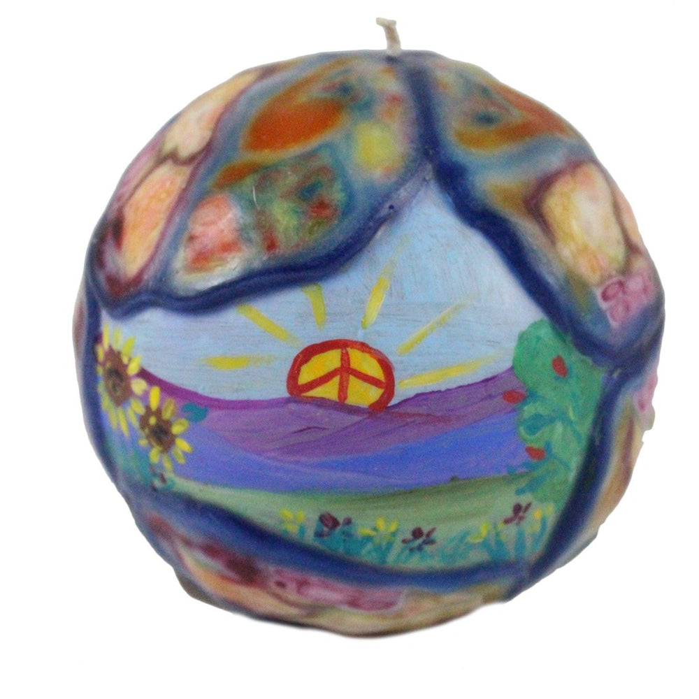 Hand Painted Ball Candle With Veneer - Peace Sign Sunrise And Daises - Candlestock.com