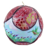 Hand Painted Ball Candle With Veneer - Hummingbird And Flower Field - Candlestock.com
