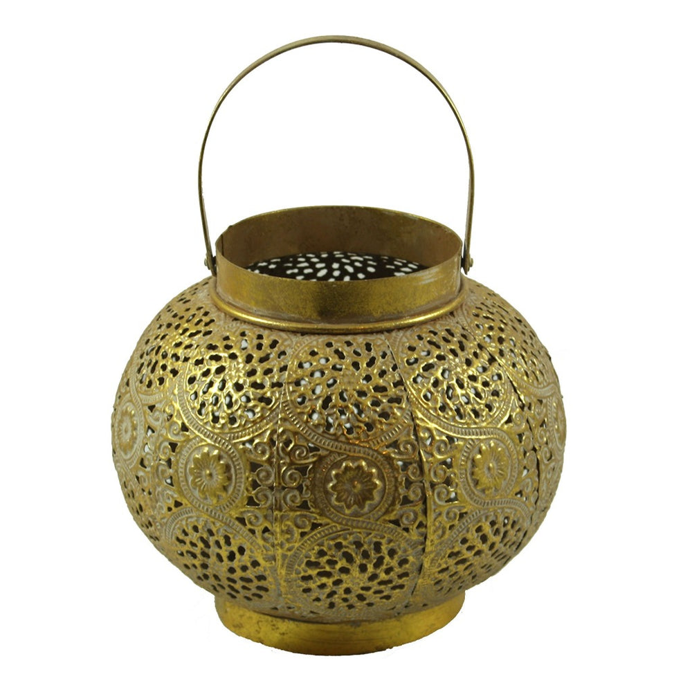 Gold Metal Candle Lantern