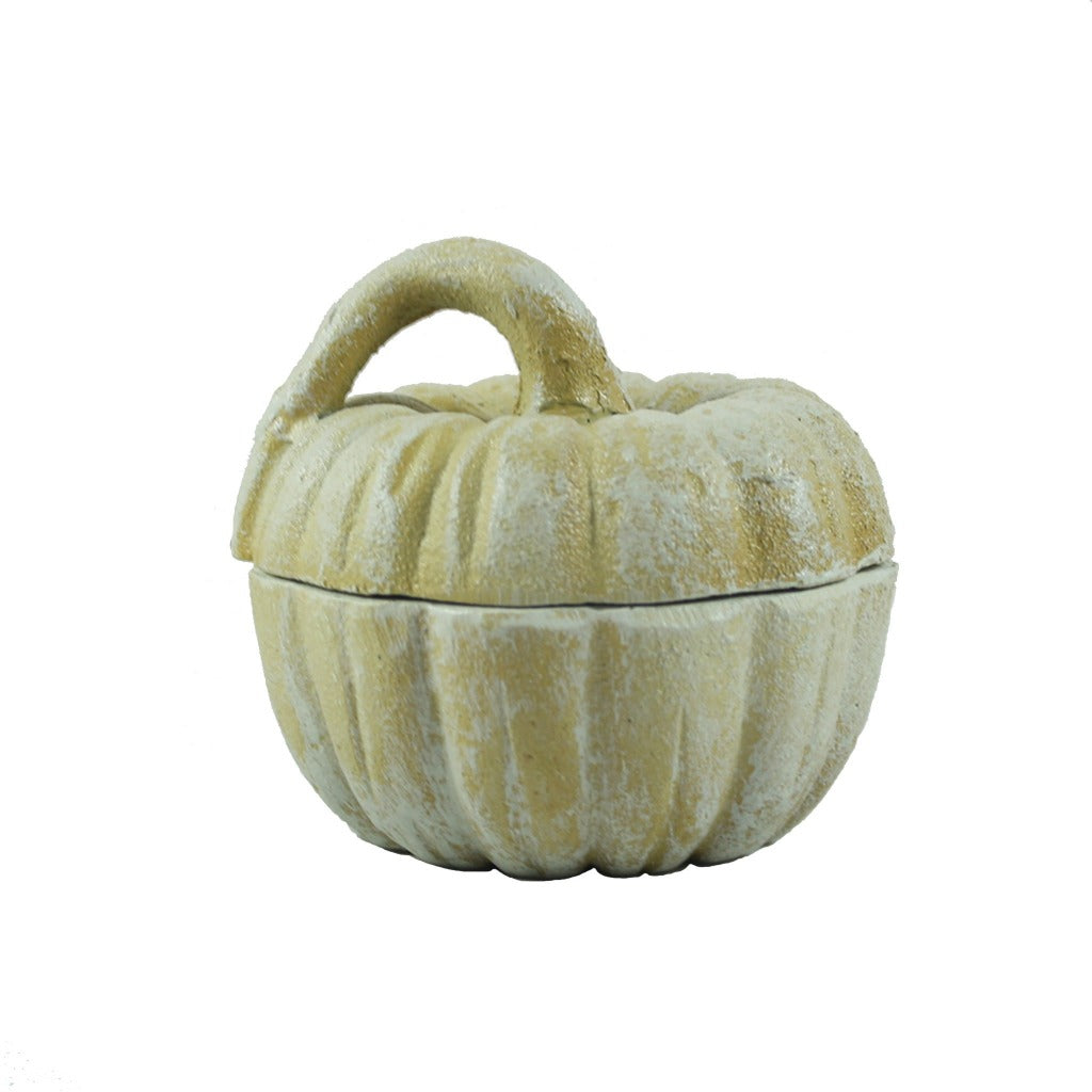 White Cast Iron Pumpkin Jar