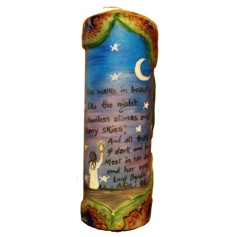 "Quote Candle - ""She walks in beauty, like the night of cloudless climbs and starry skies; and all that's best of dark and bright meet in her aspect and her eyes"" Lord Byron"