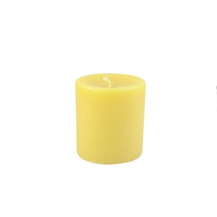 Beeswax Round Pillar Candle 3 Inch Diameter By 3 Inches Tall - 100% All Natural Beeswax Locally Handmade - Candlestock.com