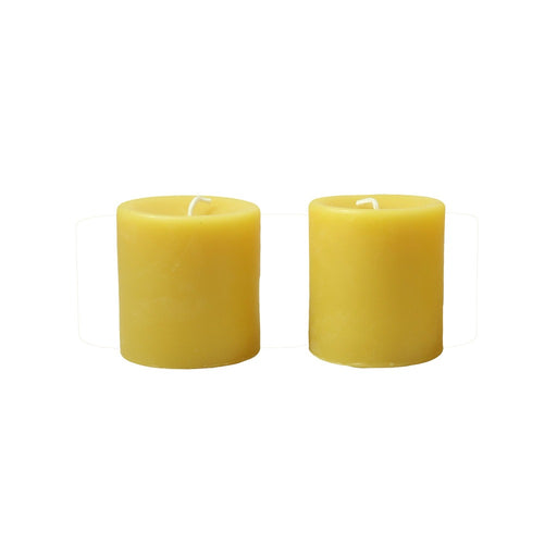 Pure all natural beeswax pillar candle 3 inch pair. - Candlestock.com