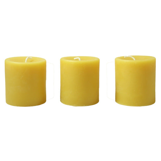 Beeswax 3 inch pillar candle set of 3. All natural, clean burning beeswax candles. - Candlestock.com