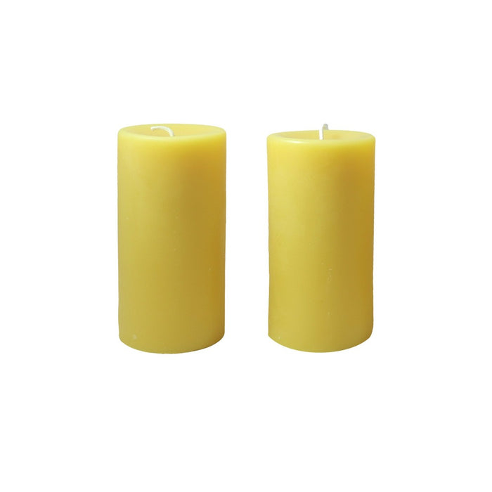 6 inch all natural hand poured beeswax pillar candle pair. - Candlestock.com