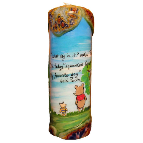 "Quote Pillar Candle - ""What day is it? asked Pooh ""It's today"" squeaked Piglet ""My favorite day"" said Pooh"" Winnie the Pooh"