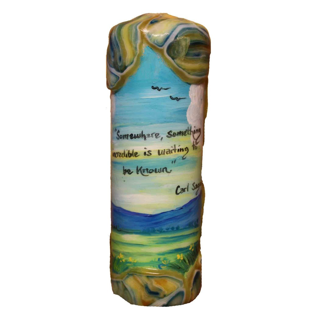 "Quote Pillar Candle - ""Somewhere, something incredible is waiting to be know"" Carl Sagan - Candlestock.com"