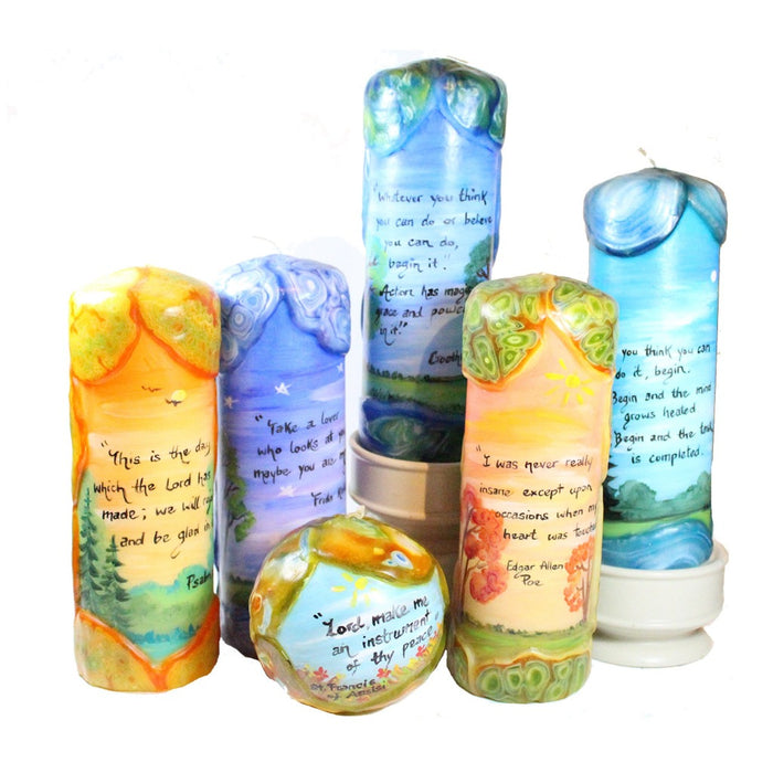"Quote Pillar Candle - ""Life is either a daring adventure or nothing. To keep our faces toward change and behave like free spirits in the presence of fate is strength undefeatable."" Helen Keller - Candlestock.com"