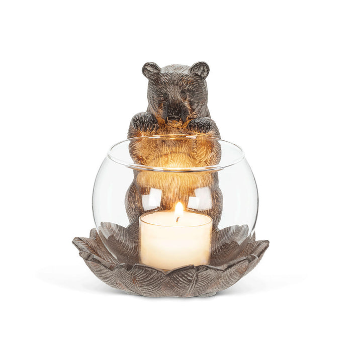 Peeking Bear Tea Light Candle Holder