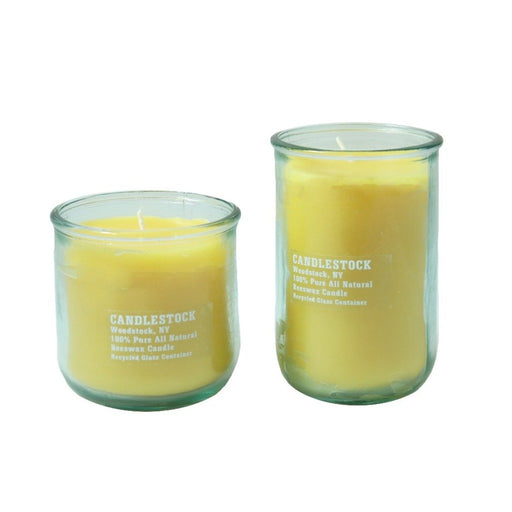 All natural hand poured beeswax and recycled glass jar candle. - Candlestock.com