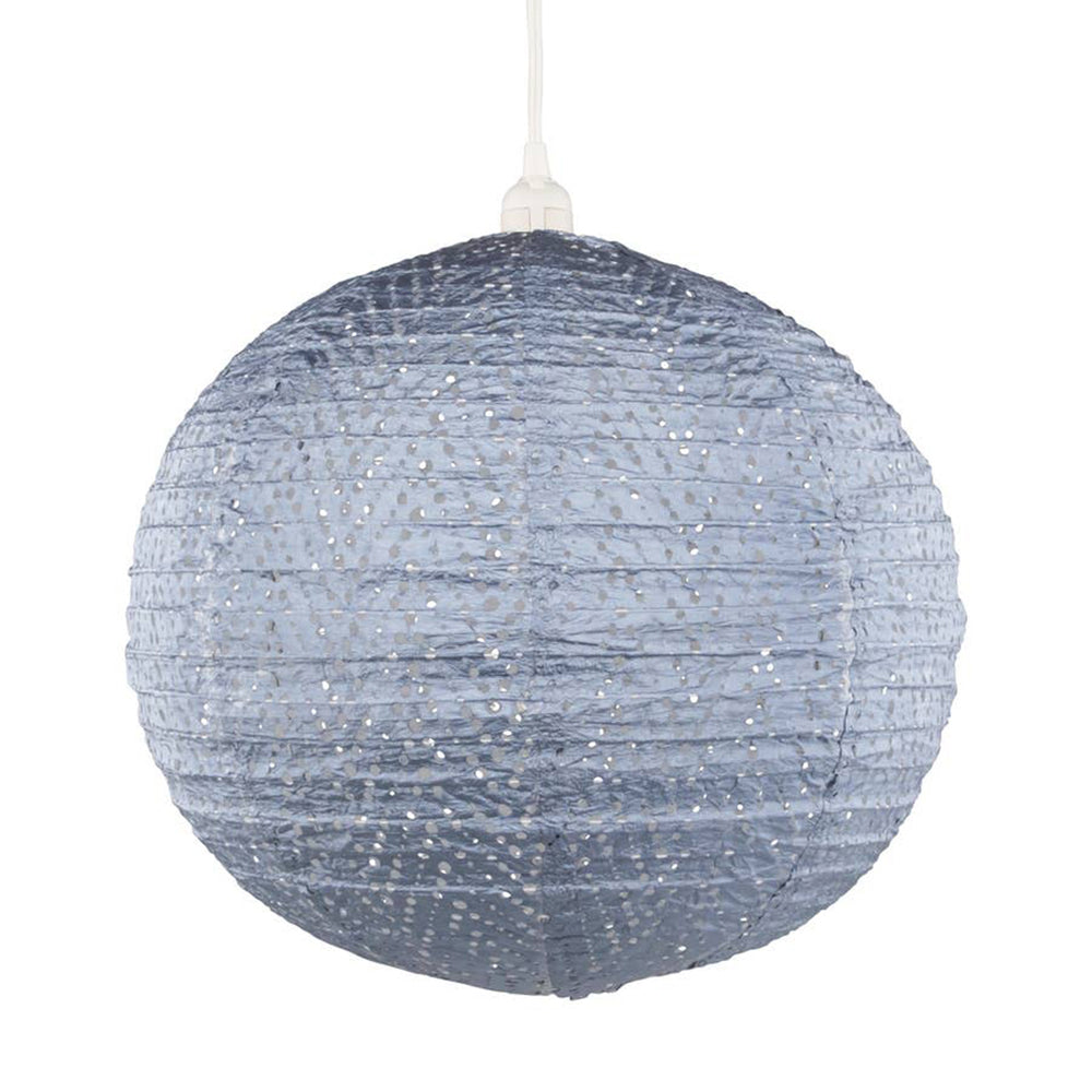 Blue Chevron Indoor/Outdoor Hanging Globe Lamp - 18 inches