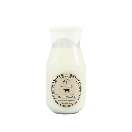 Barn Dance Soy Wax Scented Reclaimed Milk Jar Candles - Candlestock.com