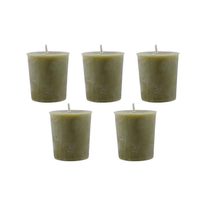 Bayberry and beeswax blended votive candles hand poured in Woodstock, NY. 5 Pack Of Bayberry and Beeswax Votive Candles. - Candlestock.com