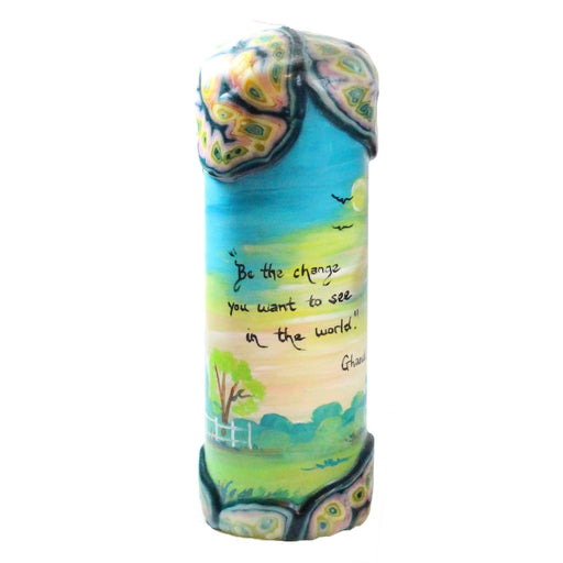 "Quote Pillar Candle - ""Be the change that you wish to see in the world"" Gandhi - Candlestock.com"