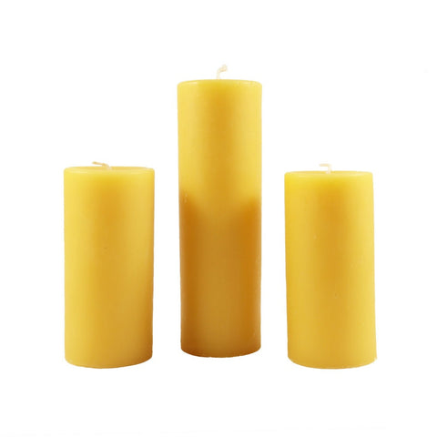 Illuminate your home with this 3 beeswax pillar candle bundle. Includes 3, 2 inch diameter beeswax pillar candles. - Candlestock.com