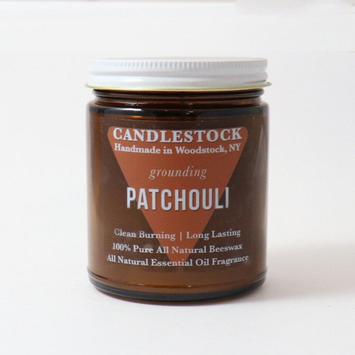 Patchouli scented beeswax candle. All natural essential oil scented jar candle. - Candlestock.com