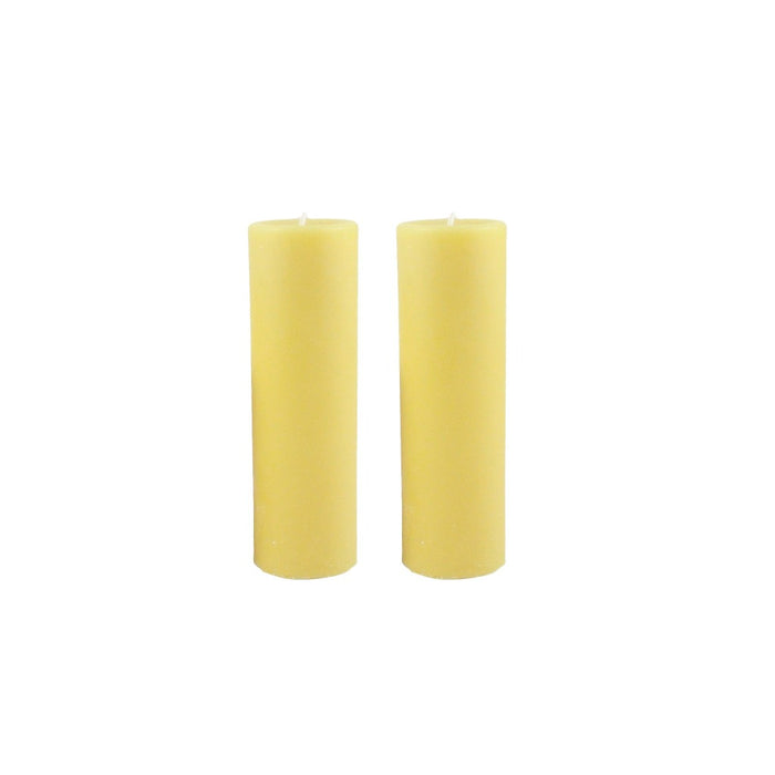 2x6 dripless all natural hand poured beeswax pillar candle pair. - Candlestock.com
