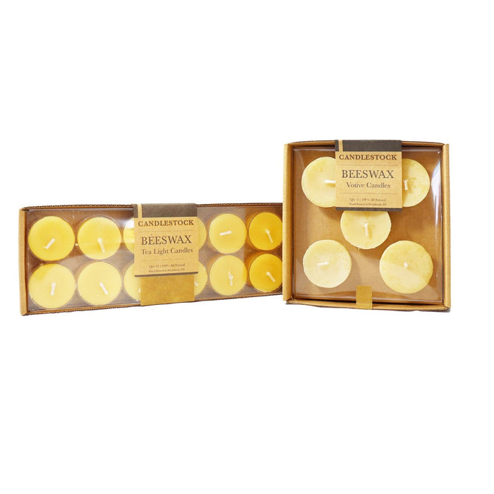 12 pack beeswax tea light candle 5 pack votive candles. Natural beeswax candle sets. - Candlestock.com