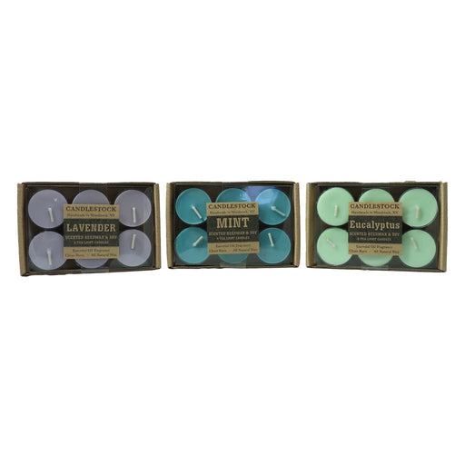 Enjoy all natural beeswax and soy wax essential oil fragranced tea light candles in packs of six. - Candlestock.com
