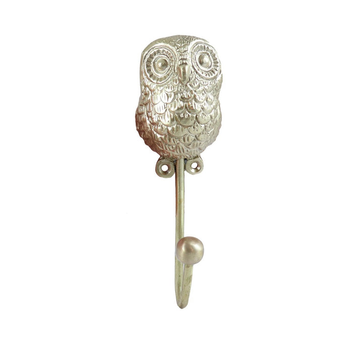 Brass Holly Owl Wall Hook