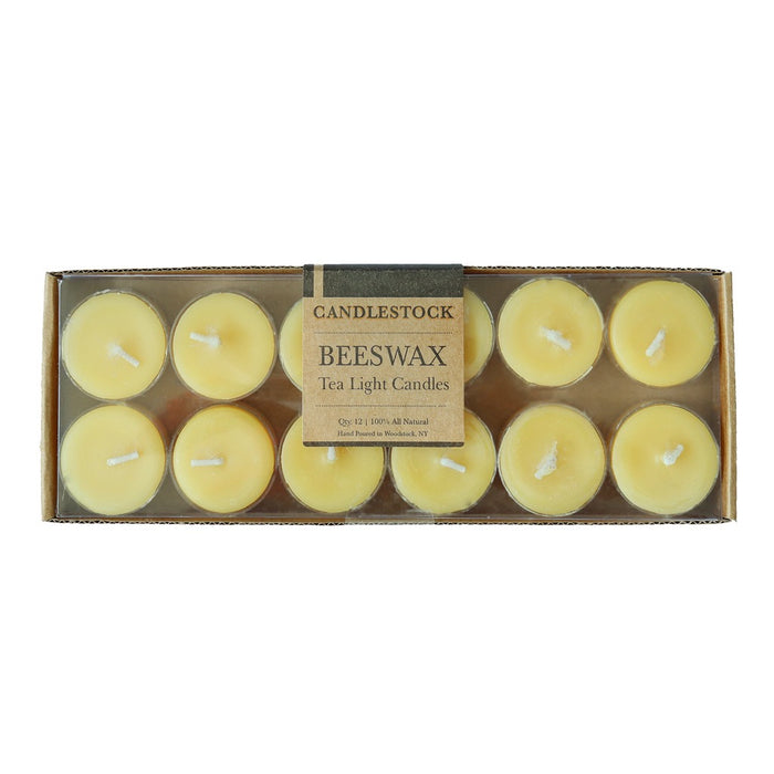 All natural hand poured beeswax tea light candles. 12 Pack Beeswax Tea Light Candles. - Candlestock.com