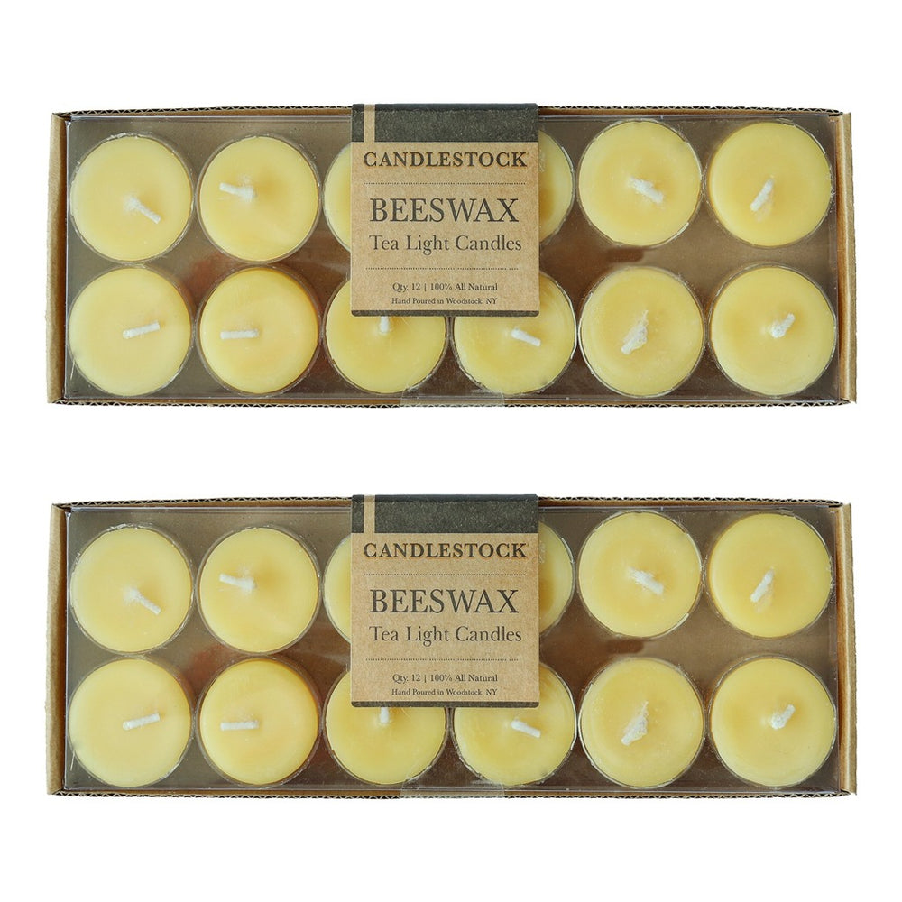 Bulk 100% pure beeswax tea light candles. Long lasting dripless beeswax candles. - Candlestock.com