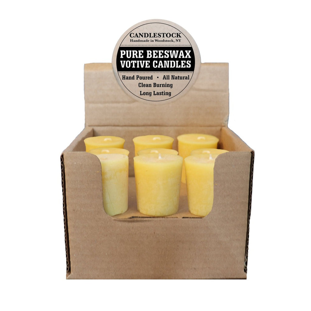 Bulk beeswax votive candles. All natural dripless beeswax votive candles. - Candlestock.com