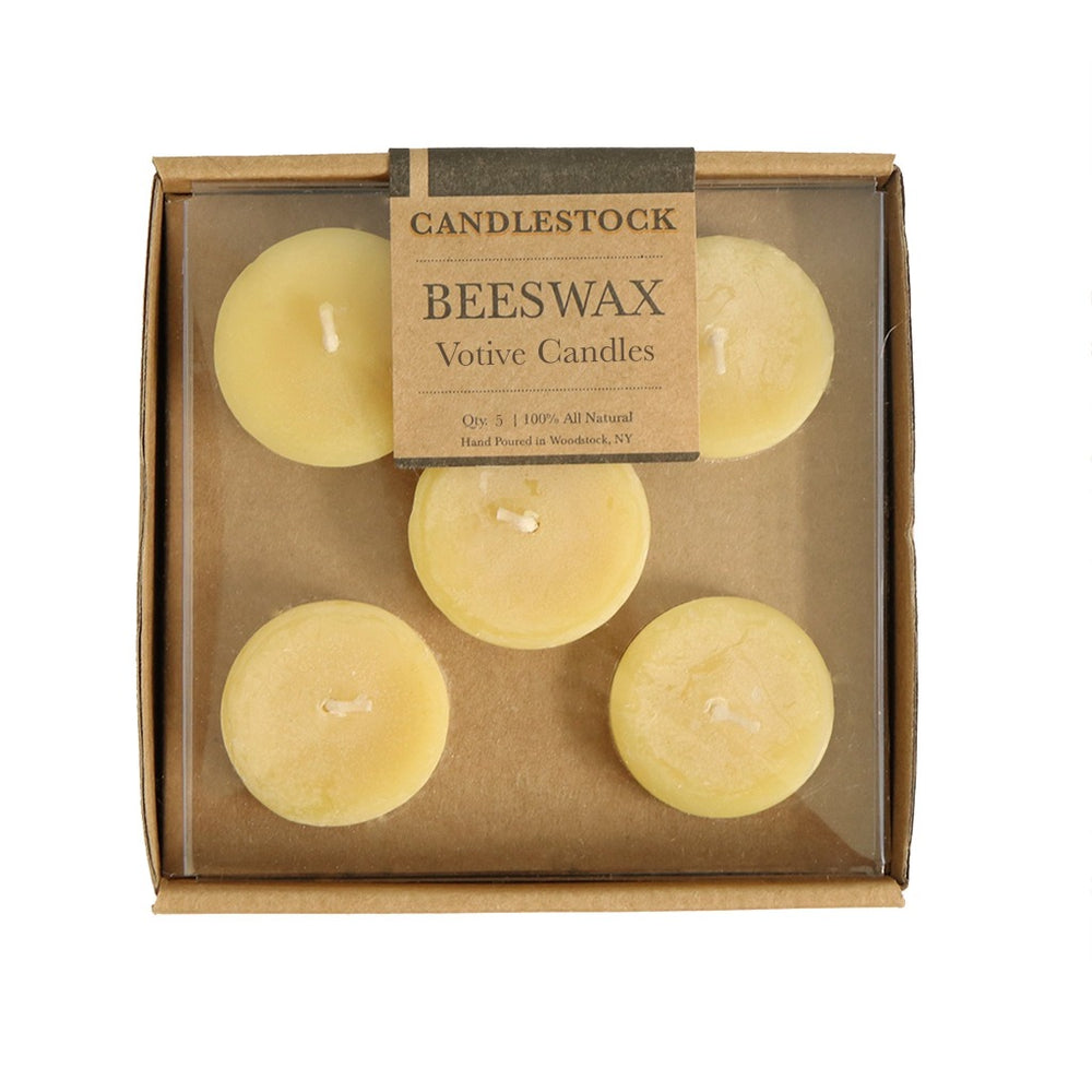 All natural hand poured beeswax votive candles available in a 5 pack. - Candlestock.com