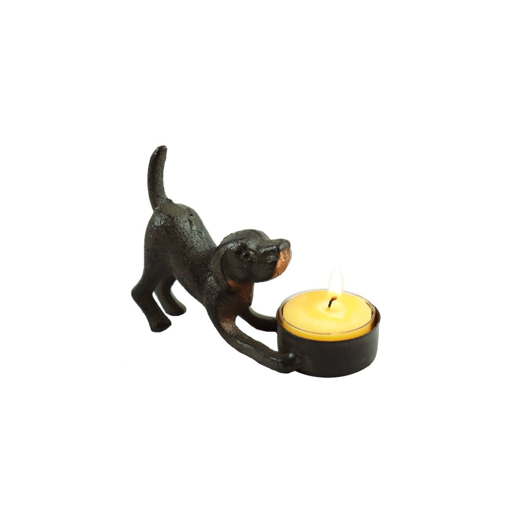 Cast iron dog tea light candle holder with pure beeswax tea light candle. - Candlestock.com