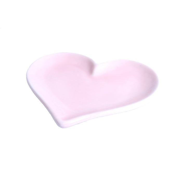 Decorative tea light candle dish. Pink ceramic heart decor - Candlestock.com