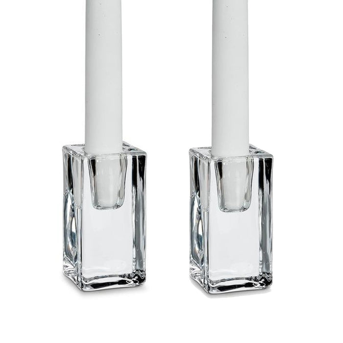 Clear glass rectangular candlestick holders. Traditional taper candle holder clear glass pair. - Candlestock.com