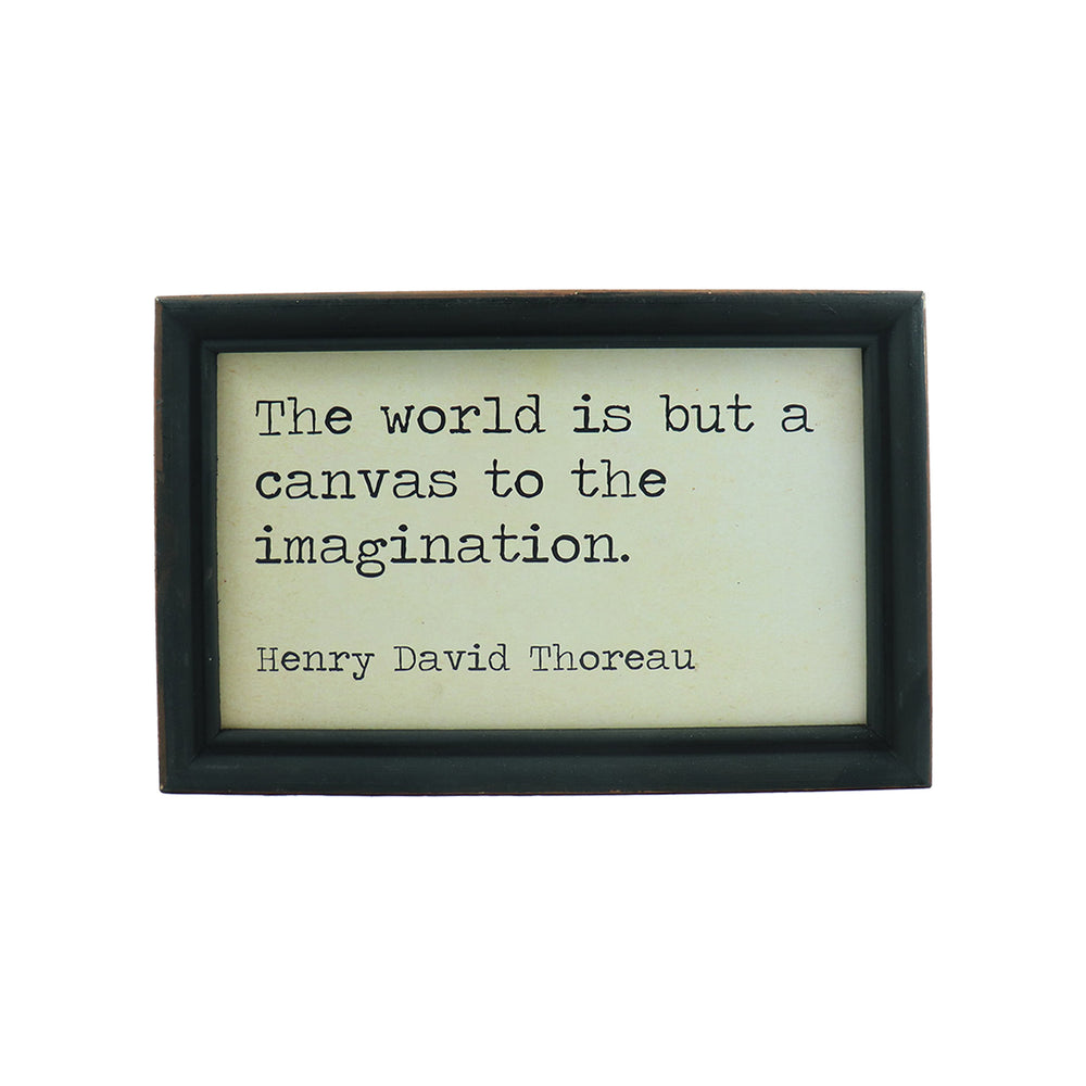 "Framed Hanging Wall Quote ""The world is but a canvas to the imagination"" - Candlestock.com"