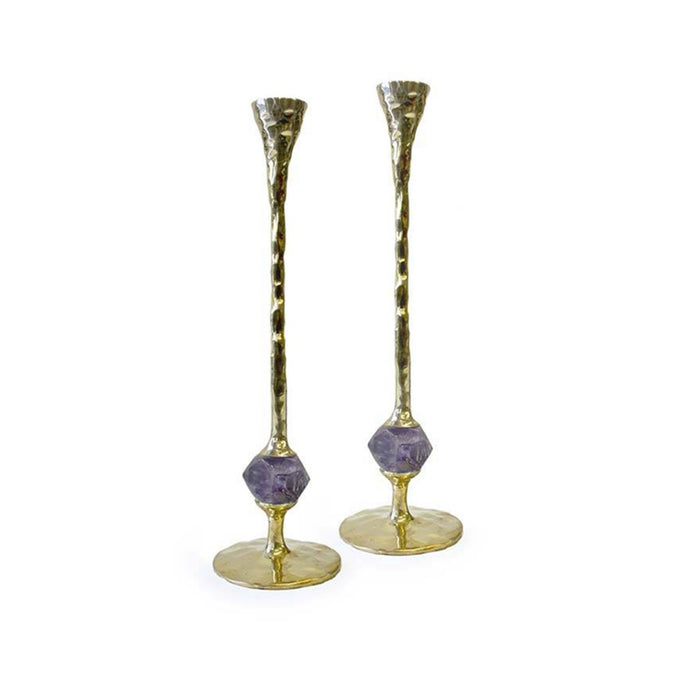 Hammered Brass & Amethyst Taper Candle Holder