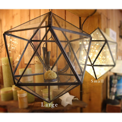 Glass And Lead Geometric Hanging Tea Light Candle Holder - Candlestock.com