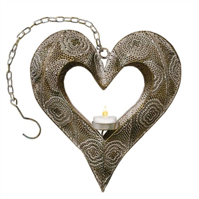 Gold Metal Heart Hanging Tea Light Candle Holder - Candlestock.com