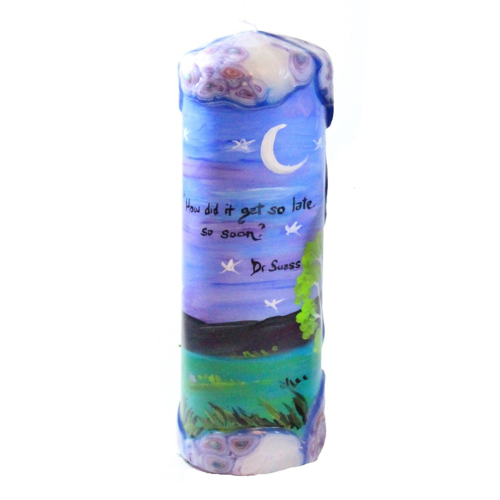 "Quote Pillar Candle - ""How did it get so late so soon?"" Dr. Seuss - Candlestock.com"
